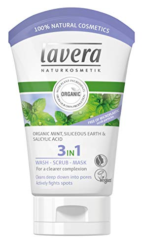 lavera 3 in 1 Cleansing face Wash, Scrub & Mask: Triple action to effectively reveal clearer skin daily & actively prevent and fight skin blemishes. Facial cleanser for all skin types
