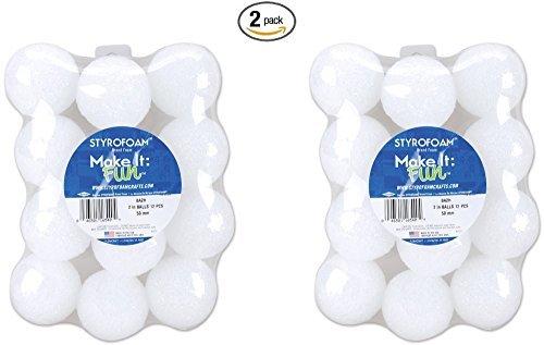 Floracraft Styrofoam Balls, 2-Inch, White, 12 Per Package (2 pack)