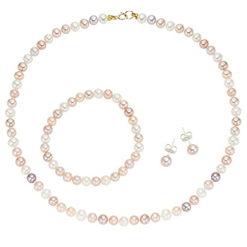 - 14k Gold Multi Colored Cultured Pearl Kids Set, Necklace, Bracelet, Stud Earrings for Girls