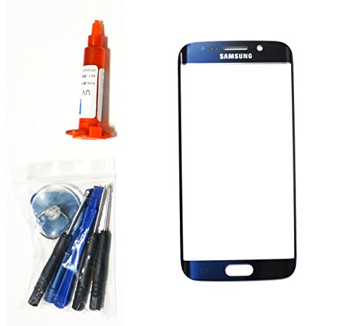 OEM md0410 Front Outer Lens Glass Screen Replacement For Samsung Galaxy S6 EDGE G925 with Tools and 5ml UV LOCA Liquid Glue Adhesive - Blue