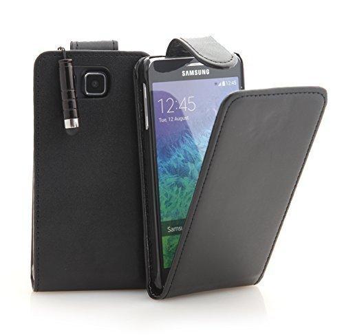 Connect Zone - Kunstleder Flip Schutzhülle Schwarz für Samsung Galaxy Alpha SM G850F + Bildschirmschutz & Poliertuch & Mini Touch Screen Eingabestift