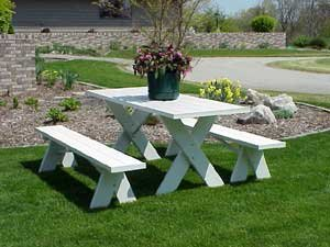 Dura-Trel Vinyl Picnic Table w/Unattached Benches
