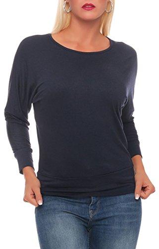 malito Longsleeve Lady-Fit Básico Top Suéter Jersey Clásico Loose Tramo Casual 1368 Mujer Talla Única azul oscuro