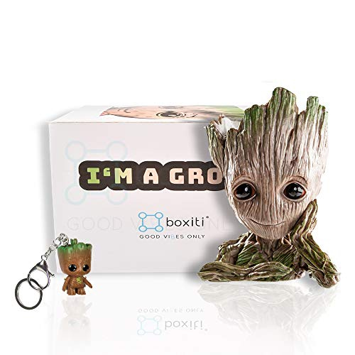 Boxiti Groot Pen Holders -Baby Groot Planter Ideal Gift - Guardian The Galaxy Pen Holders - Groot Flowerpot Baby Model Toy Comes Free Groot Key Ring (Model 1)