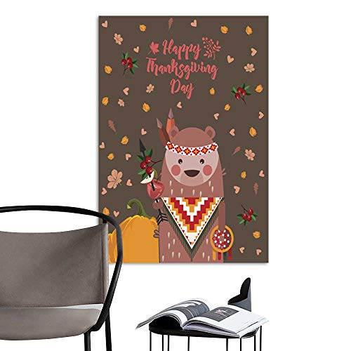 (UHOO Art Print Paintings ModernHappy Thanksgiving Day Vector Greeting Card Harvest Festival.jpg Living Room Wall Decor and Home Décor)