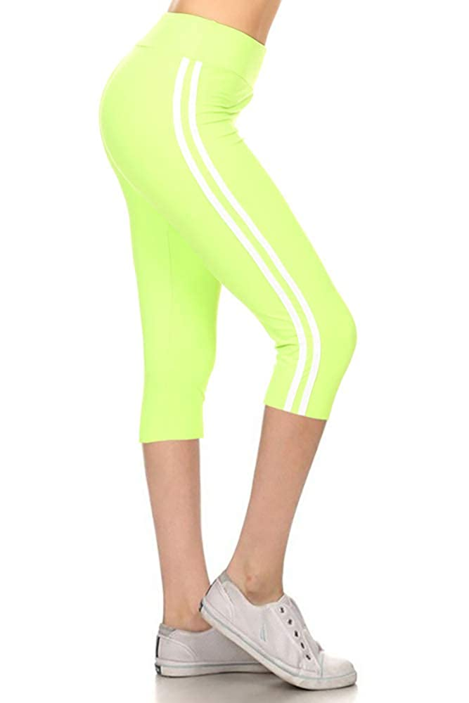 Leggings Depot Buttery Soft Women's Yoga Gym Workout Higher Waist Solid Capri Leggings Pants 22+ Colors LYCPR