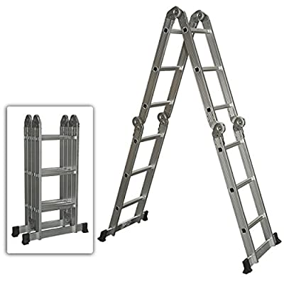 Best Choice Products SKY528 Scaffold Extendable Heavy Duty Multi Purpose Folding Step Ladder, Aluminum