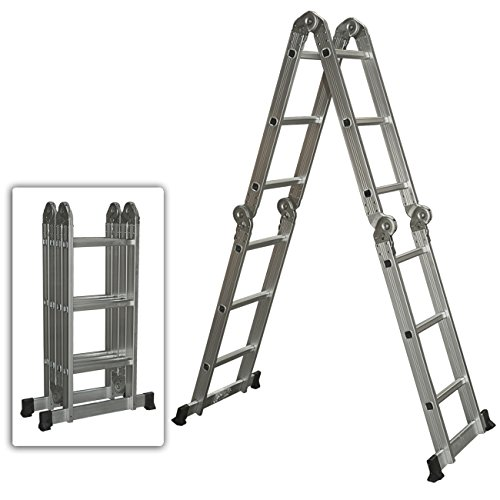 Best Choice Products Multi Purpose Aluminum Ladder Folding Step Ladder Extendable Heavy - Purpose Ladder Folding Multi