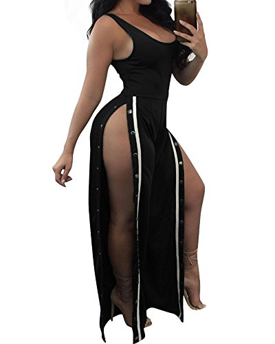 Side Button Pant Suit (Women Sexy Sleeveless Tank High Slit Side Button Up Wide Leg Pants Jumpsuit Rompers Black XL)