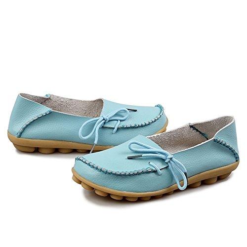 Century Star Moda Para Mujer Casual Cuero Con Cordones Mocasines De Conducción Mocasines Zapatilla Zapatilla Zapatos O Light Blue