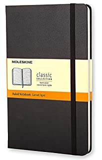 """Moleskine Classic Notebook, Hard Cover, Large (5"""" x 8.25"""") Ruled/Lined, Black (8883701127) 