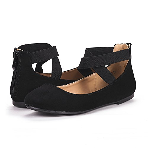 DREAM PAIRS Women's Sole_Stretchy Black Fashion Elastic Ankle Straps Flats Shoes Size 9 M US by DREAM PAIRS (Image #1)