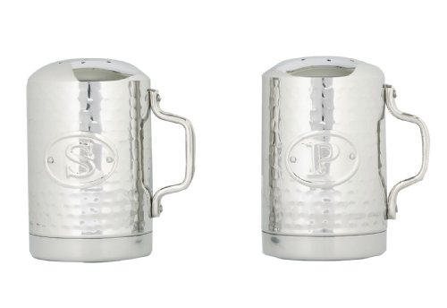 Old Dutch Stainless Steel Hammered Stovetop Salt and Pepper Set, 4-1/4-Inch (Stove Top Salt And Pepper Shakers)