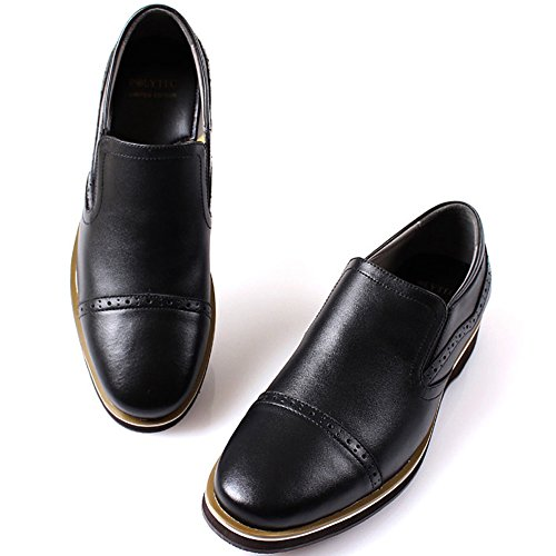 Slip Polytec Black Casual Fashion Loafers Dress on Formal Men New Shoes Leather 0qf1Tad