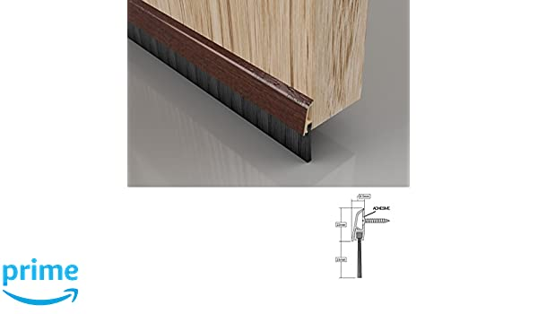 Sello del cepillo de la puerta inferior con tapa de fijación oculta, 838 mm / 33 pulgadas, Efecto de madera oscura: Amazon.es: Bricolaje y herramientas