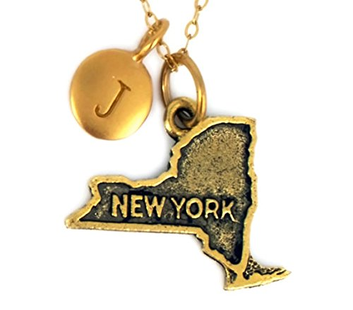 New York State Charm Necklace in Antique Gold Plated Pewter personalized with a five mm 24 K gold plated bronze initial charm.