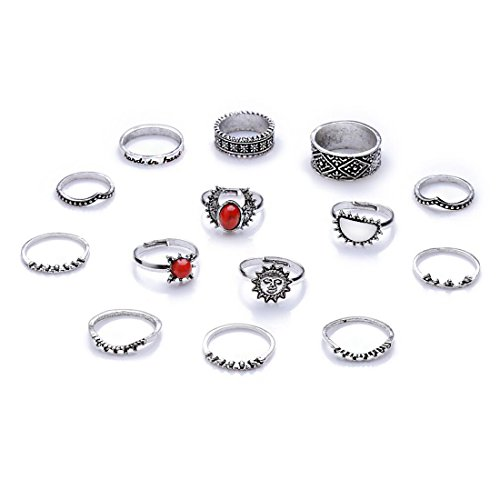 Edtoy 1 set of 14pcs Alloy European and American Bohemian Style Womens Turquoise Rings