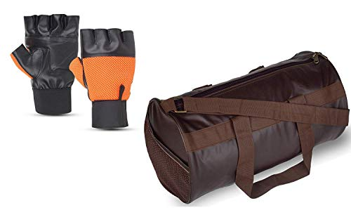 Raisons ® Men's and Women's Combo of Polyester Brown Sports Gym Bag with Free Size Gym Gloves for Daily Exercise