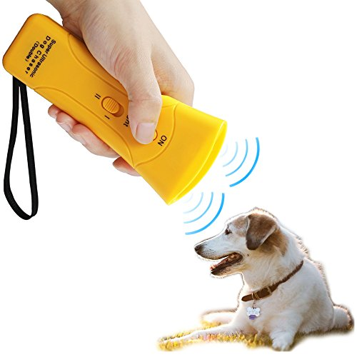 LUCKSTAR 3 In 1 Ultrasonic Dog Repeller Electronic Dog Deterrent Traning Device Bark Stopper With 2 LED Flashlight (Yellow)