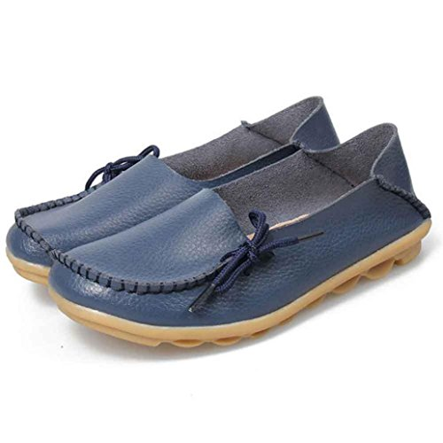 Female Leisure Shoes Loafers Leather Culater® Flats Women Casual New Dark Soft Shoes Blue wBwZqR8