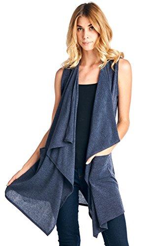 Long Drape Cashmere Cardigan - 12 Ami Knit Drape Front Long Pocket Vest Gray XXL