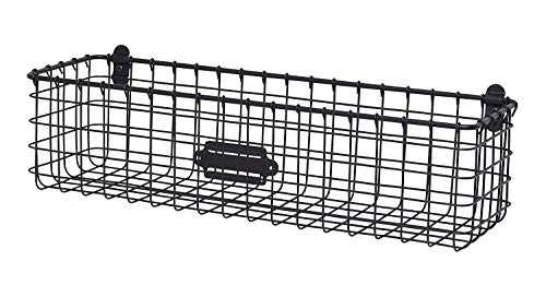 Vintage Wall Mount Storage Basket, Industrial Gray by by Spectrum Diversified.