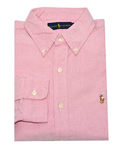 ralph-lauren-men-oxford-button-down-logo-shirt-l-cardinal-pink