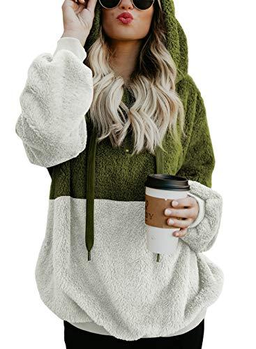 HUUSA Women Sherpa Pullover Zip Up Fuzzy Sweater Hoodie Sweatshirt Zip Front Oversized Chunk Warm Fleece Coat Outwear Large Green -