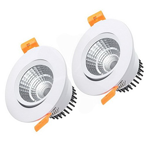 (Ucland 2 Pcs 90mm Dia. 5W COB Downlight Housing Recessed Ceiling Light Lamp Shell White)
