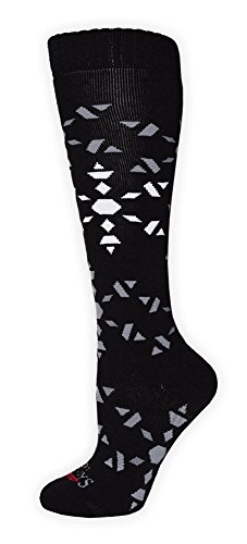 Hot Chillys Womens Socks - Hot Chillys HC2610P Women's Ice Crystals Mid Volume Ski Sock, Ice Crystal/Black - M