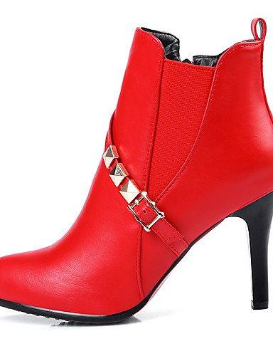 Stifelette amp; Spitzschuh eu36 Modische us5 cn35 Rot uk3 red Kunstleder 5 5 Festivität Schwarz Stiefel Kleid Stöckelabsatz Party Lässig Stiefel XZZ Damen XxAvqwz4P