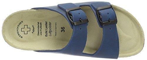 Wörishofer Bio-Pantolette 41110 - Zapatos con hebilla de cuero unisex Azul (Brown)