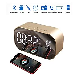 Wireless Bluetooth Speaker Player,Metal Digital Alarm Radio Clock LCD Screen 8H Playing Time TF Card for iPhone 6/6S/7 Laptop Computer Indoor Outdoor(Gold)