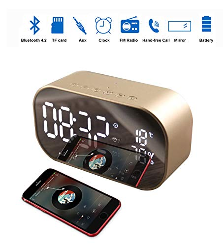 - Enjoy Best Time Wireless Bluetooth Speaker Clock,Digital Mirror Radio Alarm Clock USB Charging Port AUX TF Card Play Display for Bedside Bedroom(Gold)