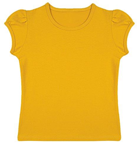 Lovetti Girls' Basic Short Puff Sleeve Round Neck T-Shirt 7 Mustard (Girls Halloween Shirts)