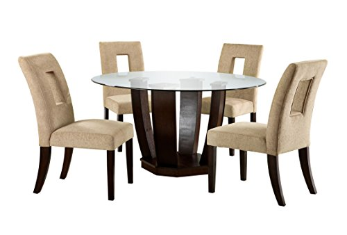 Furniture of America Valyria 5-Piece Round Dining Table Set with 10mm Tempered Glass Top, Espresso (Round Glass Top Dinette)