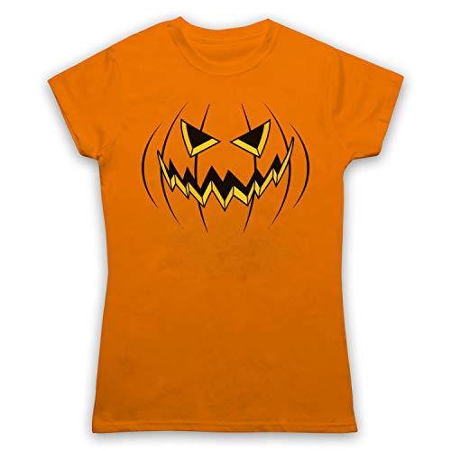 My Icon Women's Pumpkin Jack O'Lantern Halloween Costume T-Shirt, Orange, 2XL -