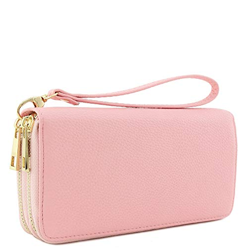 Double Zip Around Wristlet Wallet (Pink)