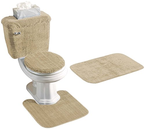 Madison Industries 5 Piece Rug and Toilet Tank Set, Sand - Tank Cover Set