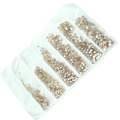 Queenme 3200pcs 1.5mm-4mm Golden Shadow Flatback Nail Crystals Rhinestones for Nails DIY Nail Design Gems Decorations 6 Size SS4-SS16