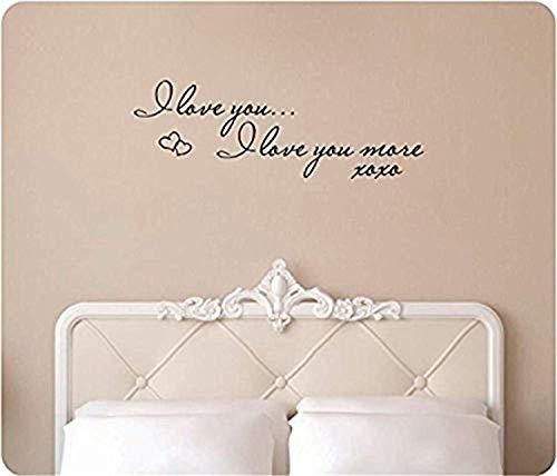 I Love Love More XOXO Hugs Kisses Hearts Saying Words Bedroom Art Home Wall Decals Mural Decor Vinyl Sticker SK4909