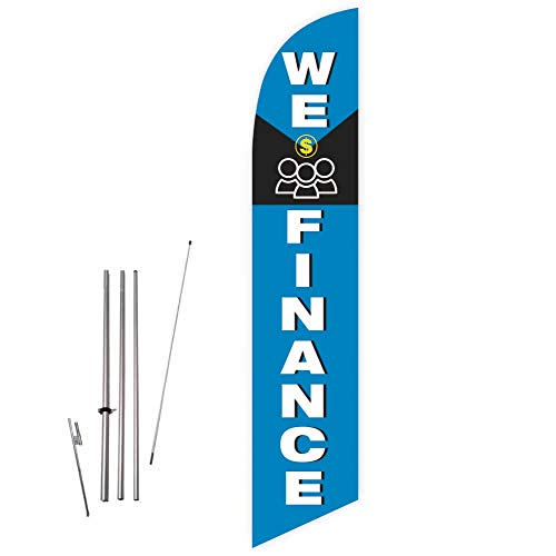 Cobb Promo We Finance (Blue) Feather Flag with Complete 15ft Pole kit and Ground Spike (Best Payday Loan Lenders)
