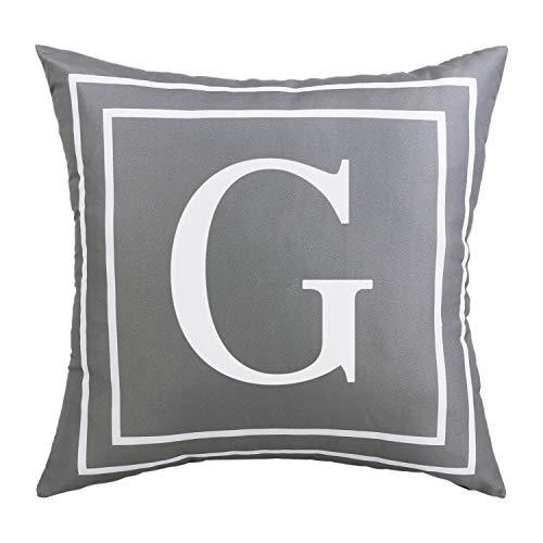 BLEUM CADE Gray Pillow Cover English Alphabet G Throw Pillow Case Modern Cushion Cover Square Pillowcase Decoration for Sofa Bed Chair Car 18 x 18 Inch