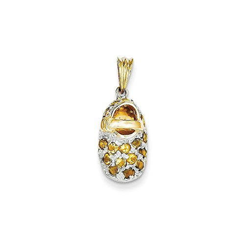 14k & Rhodium Prong-Set November/Citrine Baby Shoe Charm