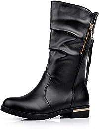 Women's Kitten-Heels Solid Square Closed Toe PatentLeather Zipper Boots
