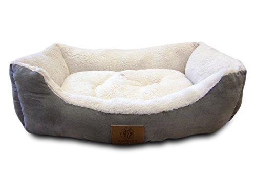 American Kennel Club Suede Cuddler Solid Pet Bed, Large, Gray