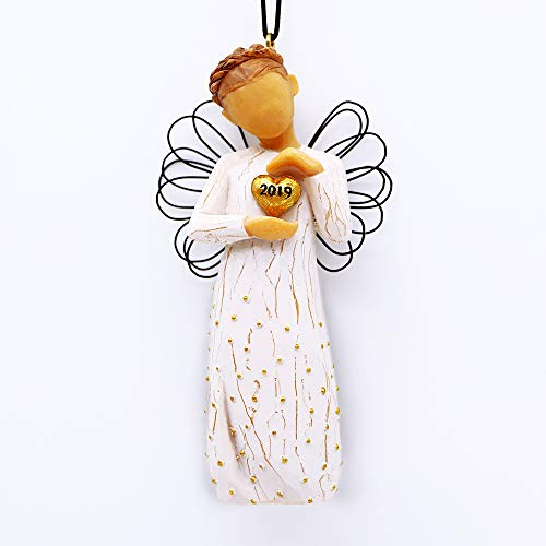 Hand-Painted Sculpted Ornament, Gifts for Women Girls Lovers Friends Graduates as Birthday, Your Guardian Angel Collectible Figurine with Golden Heart- The Unique Gifts for 2019 ()