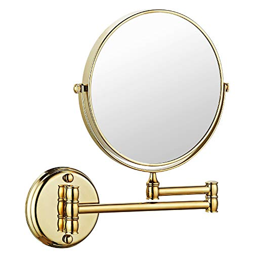 Makeup Mirror Wall Mount 8 Inch Dual Side with 1x/5x Magnification Bathroom Magnifying Mirror Two Side 360 Swivel Cosmetic Face Mirror Extendable Vanity Mirrors Luxury Brass Gold MARMOLUX -