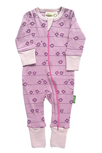 Parade Organics Signature Print '2 Way' Zipper Romper Plum Birds 12-18 Months