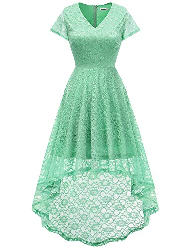 Bbonlinedress Women's Floral Lace Hi-Lo Cap Sleeve Formal Cocktail Party Dresses Mint S